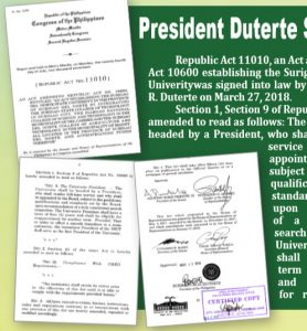 President Duterte Signs Law Converting SSCT to University